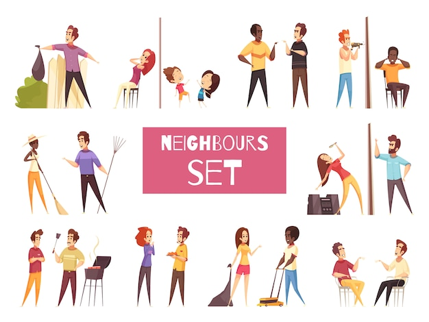 Neighbors cartoon set