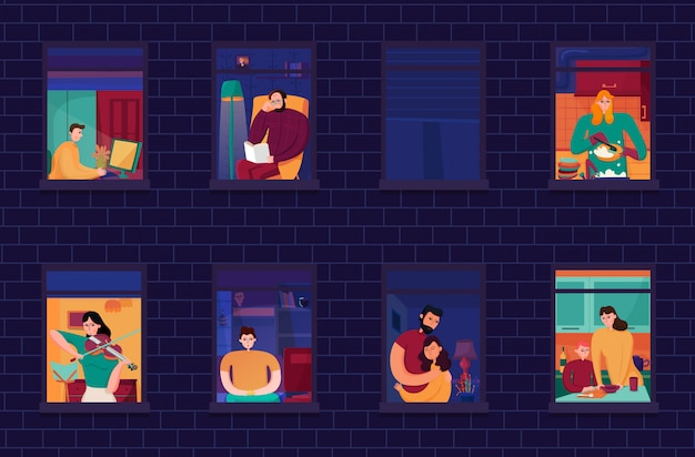 Соседи во время вечерних занятий в окнах дома на кирпичной стене ночью
