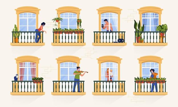 Соседи в окнах. люди-персонажи сидят дома на карантине и смотрят телевизор, вместе готовят и проводят время. векторные иллюстрации мультяшных людей в квартирах, изоляция коронавируса