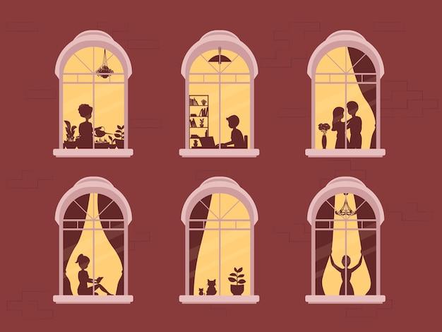 Соседи в окнах. люди в оконных рамах.