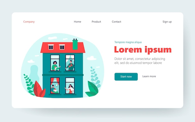 Neighbors keeping pets in their flats. windows and exterior of apartment building flat vector illustration. domestic animals, pet care concept for banner, website design or landing web page