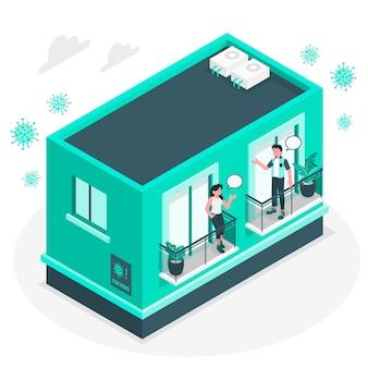 バルコニー/窓の概念図の隣人
