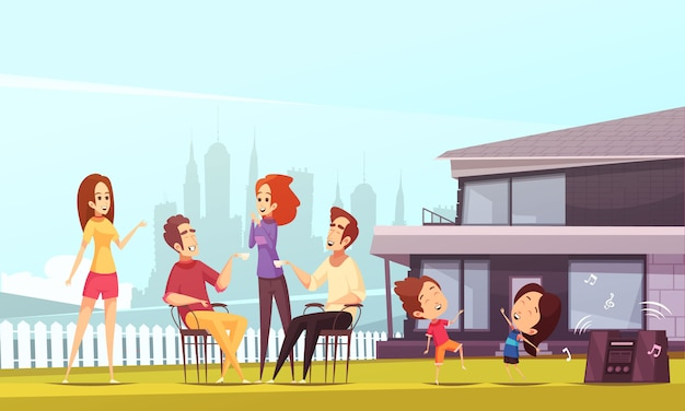 Neighbors party cartoon illustration