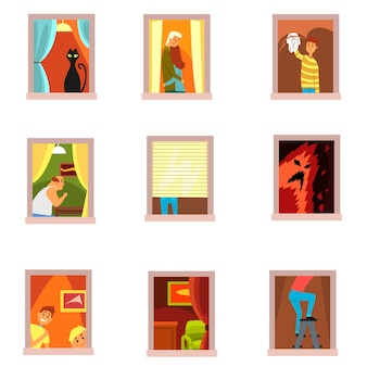 Соседи люди в наборах окон, различные ситуации в окнах городского здания мультфильм векторные иллюстрации