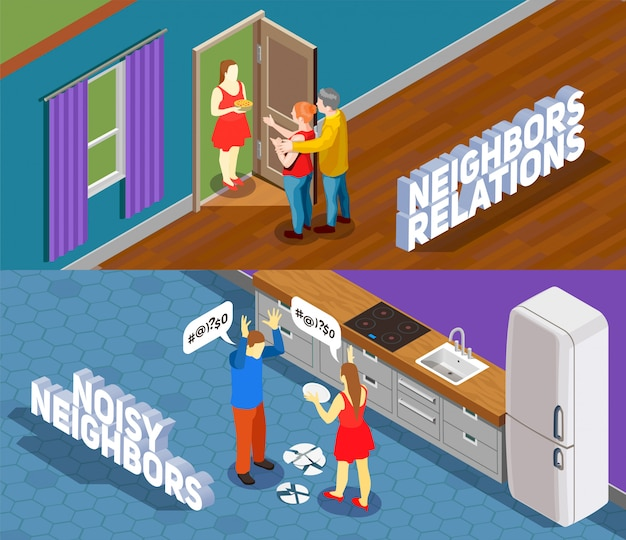Neighbors relations isometric illustration
