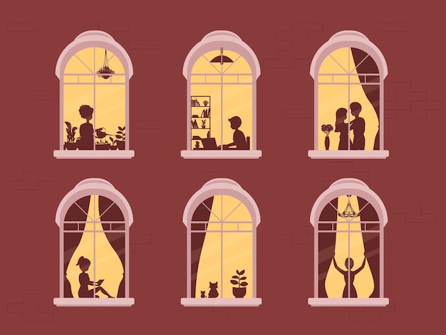 Neighbors in windows. people in window frames .