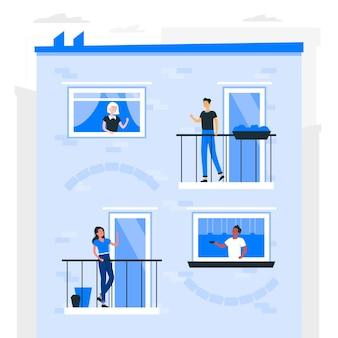Neighbours on balconies/windowsconcept illustration