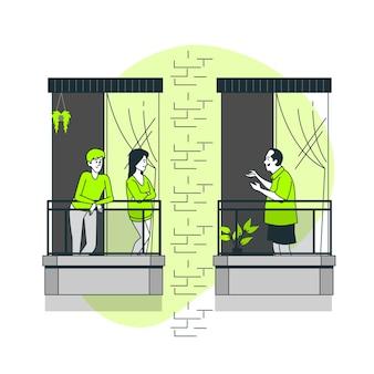 Neighbours on balconies/windows concept illustration