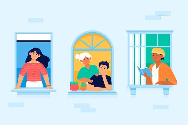 Vicini di casa su balconi o finestre