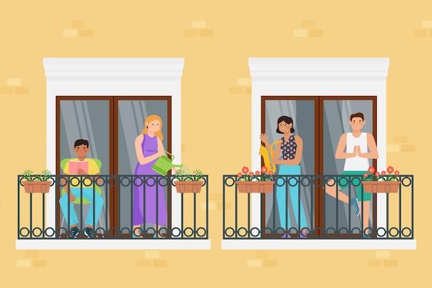 Neighbours on balconies