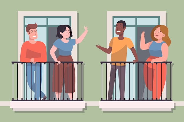 Neighbours on balcony illustration concept