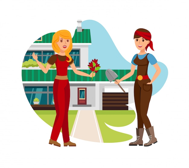 Neighbours meeting in yard vector illustration
