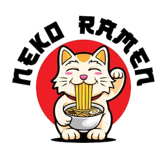 Neko ramen logo mascot