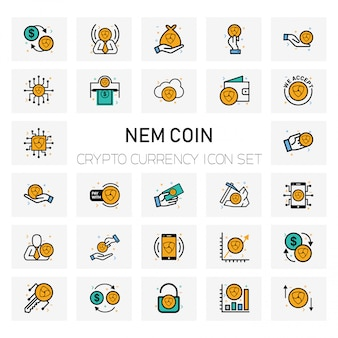 Nem coin crypto currency icons set