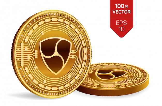 白い背景で隔離のnemシンボルとcryptocurrency黄金のコイン。