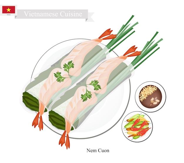 Nem cuon or vietnamese traditional spring rolls