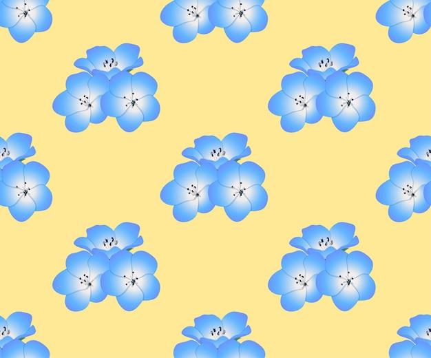Nemophila baby blue eyes flower on yellow background