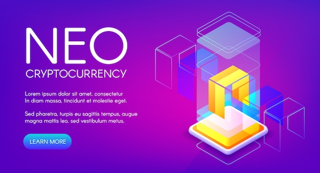 Neo cryptocurrency illustration for peer-to-peer blockchain platform and mining farm technology
