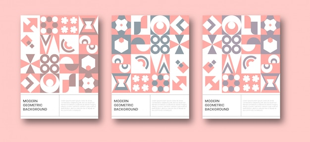 Neo geometric bauhaus background poster template