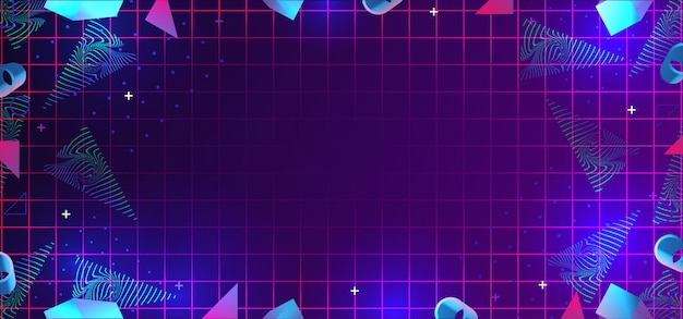 Neo memphis abstract background with 80s geometric elements decoration