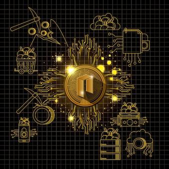 Neo mining set icons vector illustration design