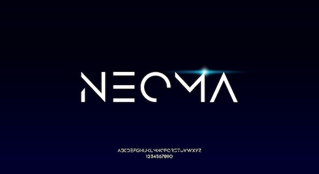 Neoma、テクノロジーをテーマにした細くシャープで幾何学的な未来的なアルファベットのフォント。モダンなミニマリストのタイポグラフィデザイン
