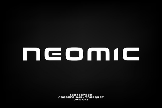 Neomic、技術をテーマにした抽象的な未来的なアルファベットフォント。モダンなミニマリストのタイポグラフィデザイン
