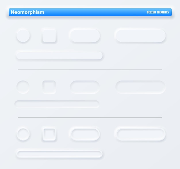 Neomorphic app buttons, navigation web interface