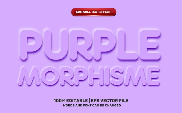 Neomorphic neomorphisme emboss 3d simple purple modern future editable text effect