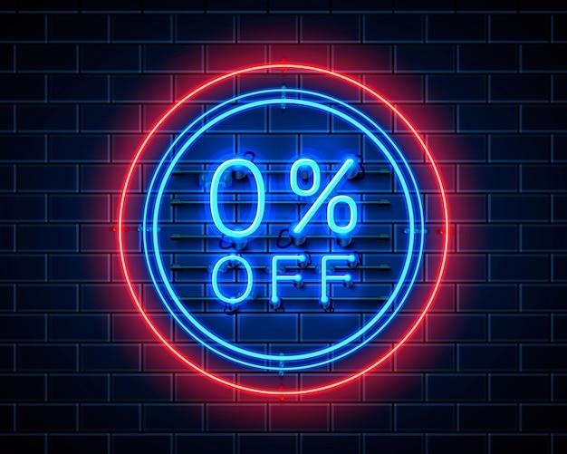 Неон 0 продажа текстовый баннер. ночной знак. векторная иллюстрация