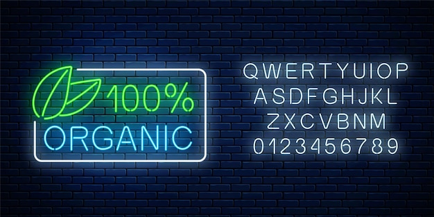 Neon 100 percent organic production sign with alphabet on dark brick wall background. natural cosmetics glowing advertising symbol. vector illustration.