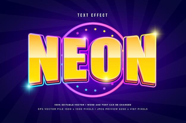 Neon 3d text effect on dark purple background