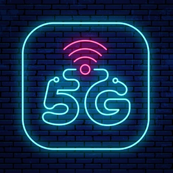 Neon 5g sign isolated on the wall background.   bright glowing 5g icon.