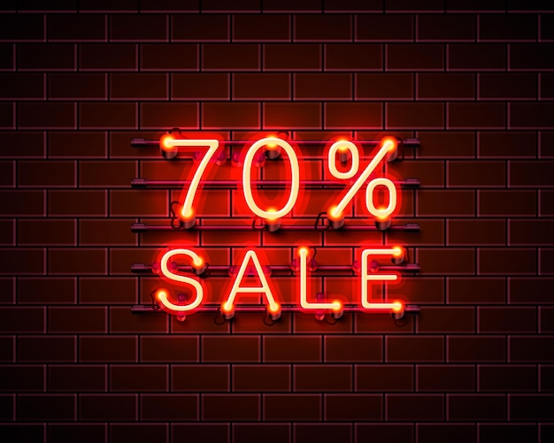 Неон 70 продажа текстового баннера. ночной знак. векторная иллюстрация