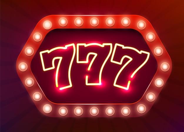 Неоновая вывеска 777 слотов. неоновая вывеска казино.