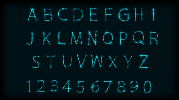 Neon abc letters symbol typeset. design roman alphabet and numbers with neon effect
