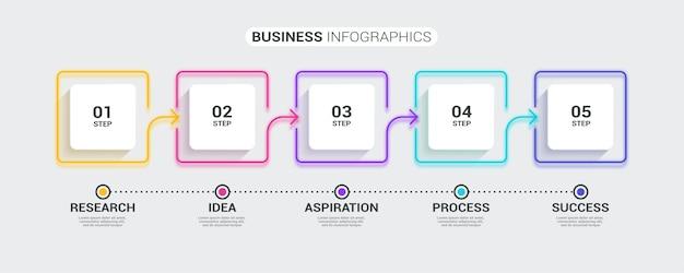 5つのステップでネオン抽象3d細い線のインフォグラフィックテンプレート。
