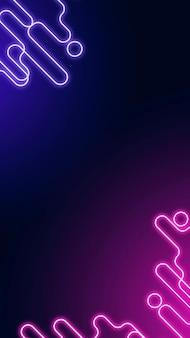 Неоновая абстрактная граница на темно-фиолетовом векторе шаблона социальной истории