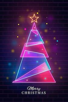 装飾されたネオン抽象クリスマスツリー