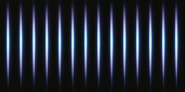 네온 추상 조명. 빛나는 수직 광선 배경