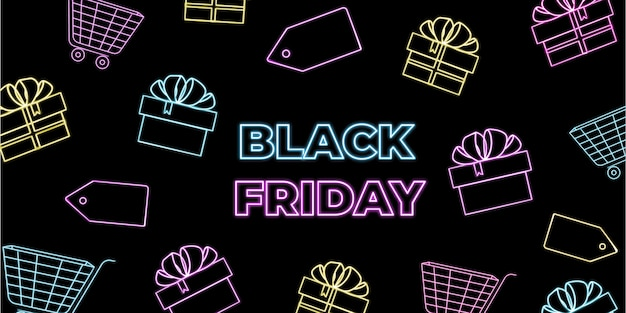 Неоновая реклама распродажи в черную пятницу с подарочными коробками и тележками. горизонтальный торговый баннер.