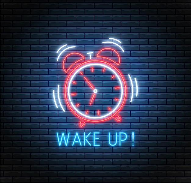 Neon alarm clock. ringing clock. wake up background. led timer on brick wall.