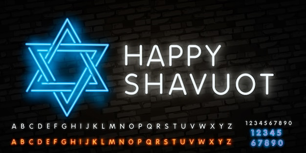 Neon alphabet font and neon sign of shavuot jewish holiday