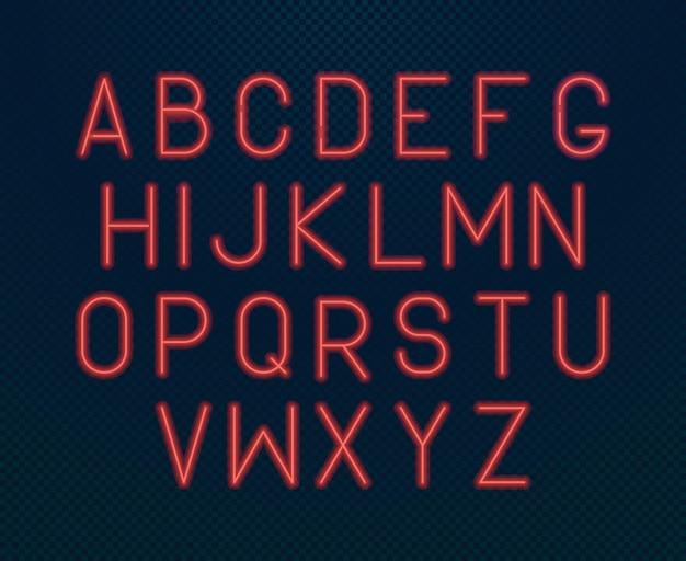 ネオンアルファベット。輝く電気書かれたフォント明るい赤のバックライト付きデザインアルファベット蛍光スタイルセット