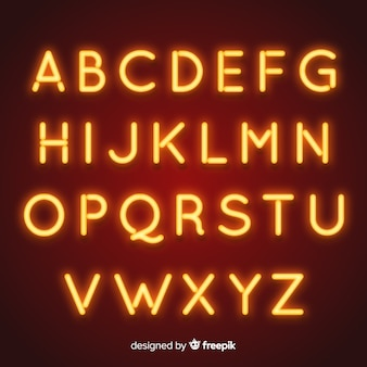 Neon alphabet in retro style
