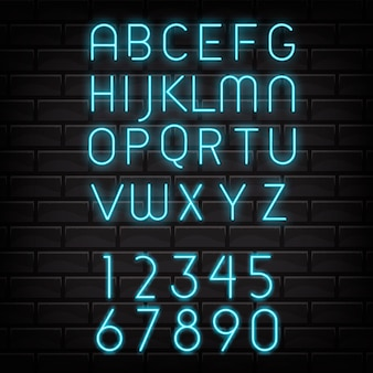 Neon alphabet letters, numbers abc lamp electricity letters . night show typography. night club. bright glowing light neon font illuminated lettering.