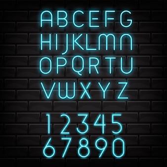 ネオンアルファベット文字、数字abcランプ電気文字。ナイトショーのタイポグラフィ。ナイトクラブ。明るく輝くライトネオンフォントで照らされたレタリング。