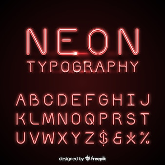Neon alphabet in red color