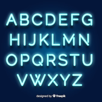 Neon alphabet in retro style Vector | Free Download