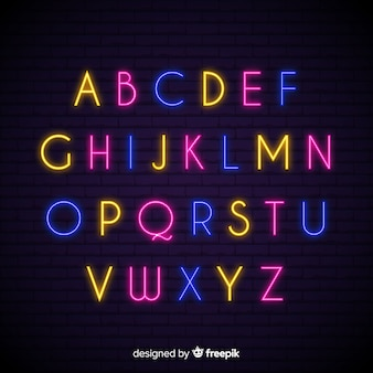Neon alphabet template flat design